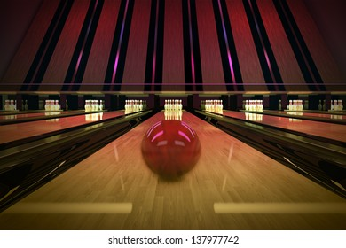 Red bowling ball is rolling on wooden lane. Ten pins are waiting for the shot.