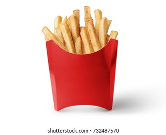 Red box of French fries isolated on white background