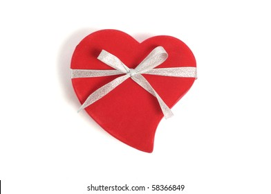 red box in heart shape with ribbon  on white