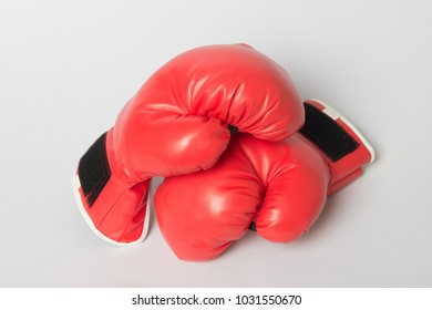 red boxing glove  on white background