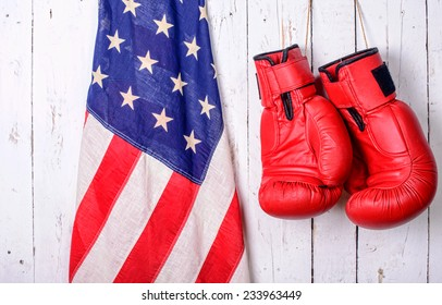 red boxing gloves with an American flag