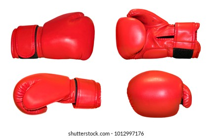 Red Boxing gloves in different camera angles on white background