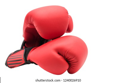 Red boxing gloves isolated on white background with copy space for text. Sport concept.