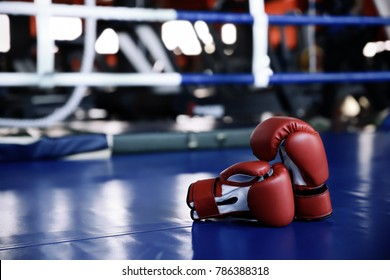 Red boxing gloves on ring