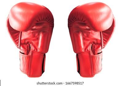 rote Boxhandschuhe auf weißem Hintergrund. Zwei Boxhandschuhe.