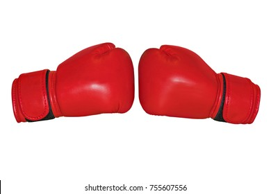 red boxing gloves on a white background. Two Boxing gloves to each other.