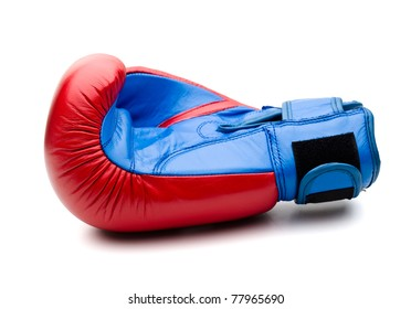 Red boxing gloves on white
