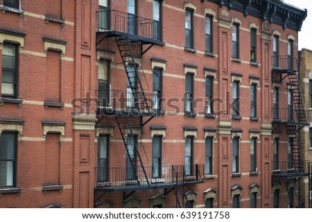 Red Brick Apartment Building Fire Escape Stock Photo (Edit Now ...