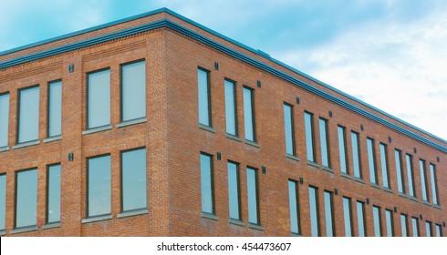 red brick building corner perspective horizontal view