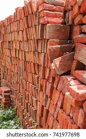 The red brick building, hand made, for house construction, India