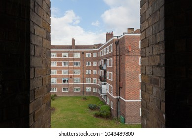Red brick building with white windows in London, UK