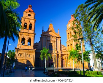 Red brick cathedral on main square, Roman Catholic Archdiocese of Santa Cruz de la Sierra, Bolivia