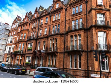Red Brick Historic Buildings in English style on Green street, Westminster. London