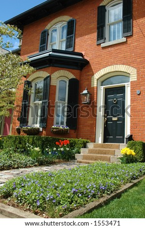 Red Brick House Black Shutters Pretty Stock Photo Edit Now 1553471