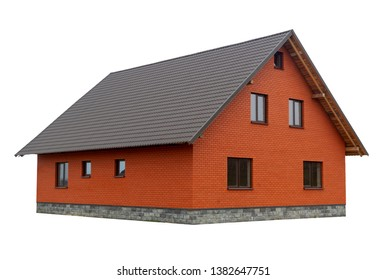 Red brick house isoleted on white