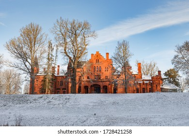 Red brick Sangaste castle in Estonia inspired by English architecture. Winter time.