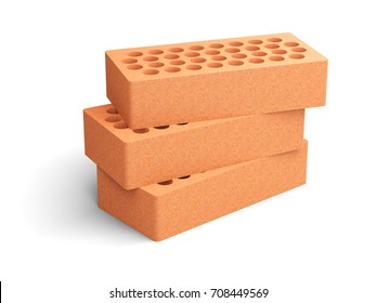 Red brick set with a round holes. Isolated on a white background 3d illustration.