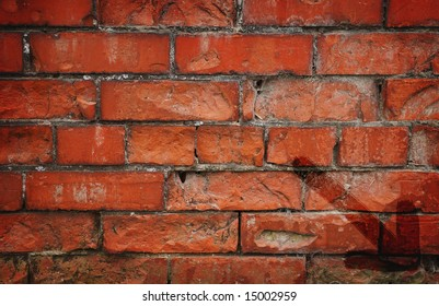 Red brick texture with arrow