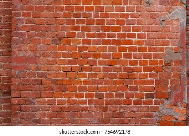 Red brick wall as background, texture