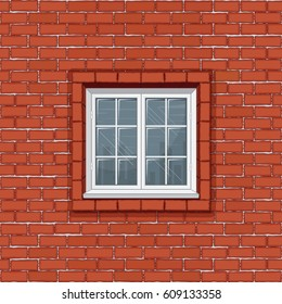 Red Brick Wall with Classic White Window Frame. Seamless Pattern