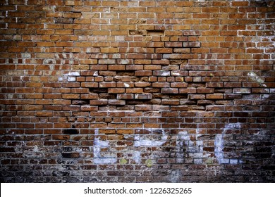 Red brick wall, detail of old wall on the outside
