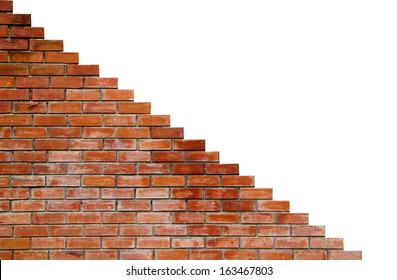 Red brick wall with isolated side on white background