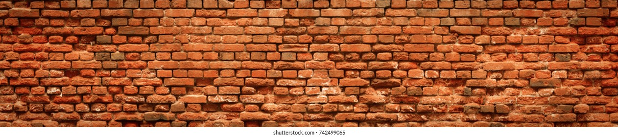 Red Brick wall panoramic background. Old Red stone blocks texture, high resolution panorama.