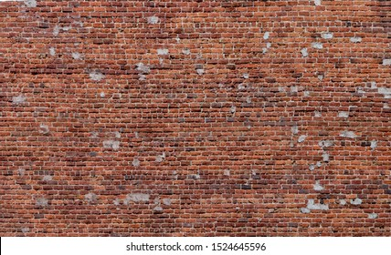 Red Brick Wall with Patches Background