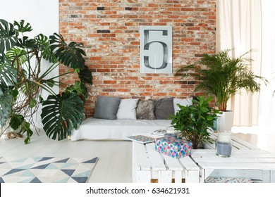 Red brick wall in spacious white lounge with plants