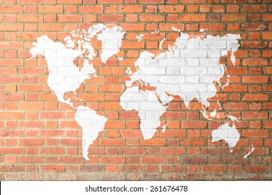 Red Brick wall texture background Soft tone White color with world map (Outline elements of world map image from NASA public domain)