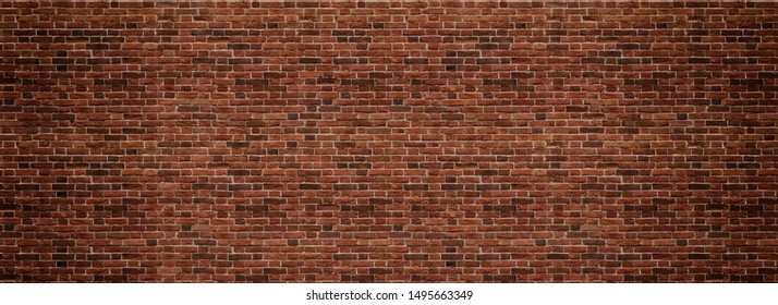 Red brick wall. Texture of old dark brown and red brick wall panoramic backgorund. - Shutterstock ID 1495663349