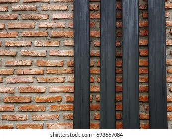 Red brick walls are beautifully arranged in rows in Thailand.