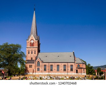 Red brick-built Gothic Revival Lillehammer Church (Lillehammer Kirke) Oppland Norway