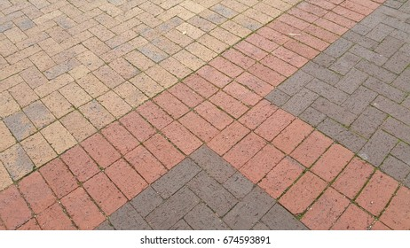 Red bricks on a sidewalk, Cape Town, Western Cape, South Africa