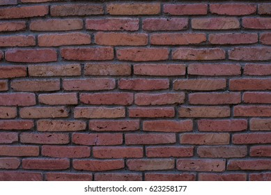 Red bricks wall as a archutectural background with copyspace