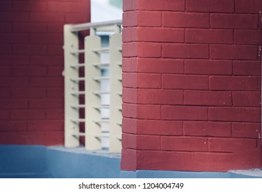 Red bricks wall of a building isolated unique photo