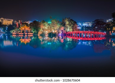 Red bridge in Hoan Kiem lake, Ha Noi, Vietnam, landmark, traveling, scenery.