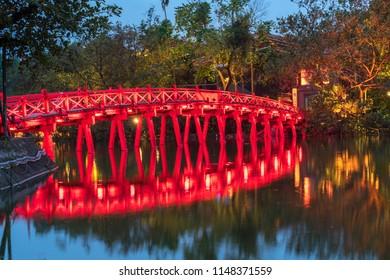 Red Bridge- The Huc Bridge in Hoan Kiem Lake, center of Hanoi, Vietnam