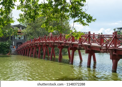 Red Bridge- The Huc Bridge in Hoan Kiem Lake, Hanoi, Vietnam