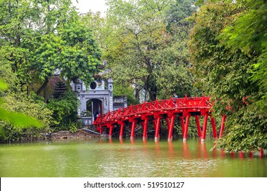 Red Bridge- The Huc Bridge in Hoan Kiem Lake, Hanoi, Vietnam on nov 18, 2016. This is a lake in the historical center of Hanoi, the capital city of Vietnam