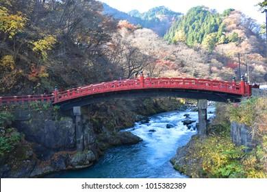 The red bridge of Nikko, the Shinkyo Bridge, or scared bridge, the well known landmark in World's heritage site in Nikko, Tochigi, Japan. The bridge is ranked as one of Japan's three finest bridges.