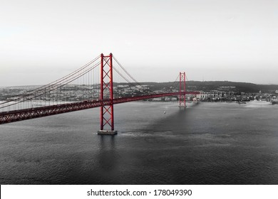 Red Bridge on a monochromatic background