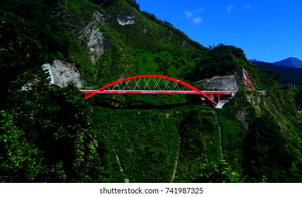 Red Bridge on the mountain the way to alishan in Taiwan