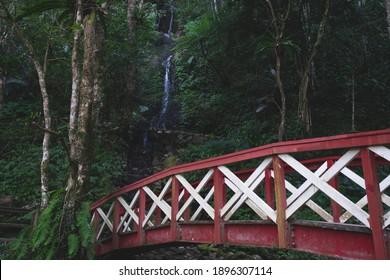Red  bridge and waterfall in Taiwan mautu, Hsinchu