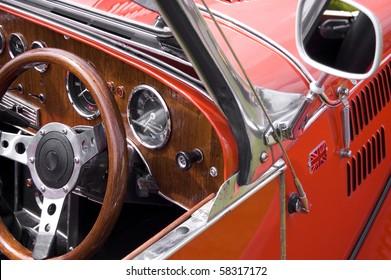Red British vintage car