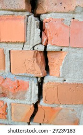 red broken wall at earthquake