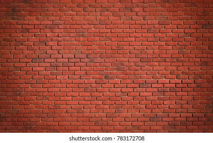 Red brown block brick wall Beautifully arranged texture background.