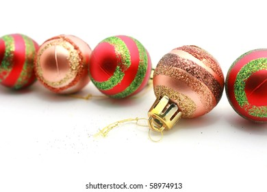 Red and Brown christmas balls isolated on white