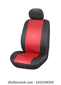 Red and brown eco leather car seat cover with headrest, upper front side view, isolated on white