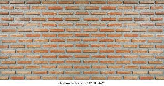Red Brown Vintage Brick Wall texture  pattern. Horizontal Wide Brickwall Background. Grungy Red Brick Blank Wall Texture.